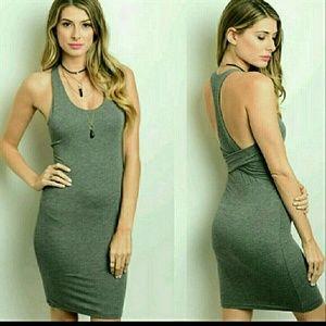 Solemio Dresses & Skirts - Sexy Gray Racerback Bodycon Dress NWOT