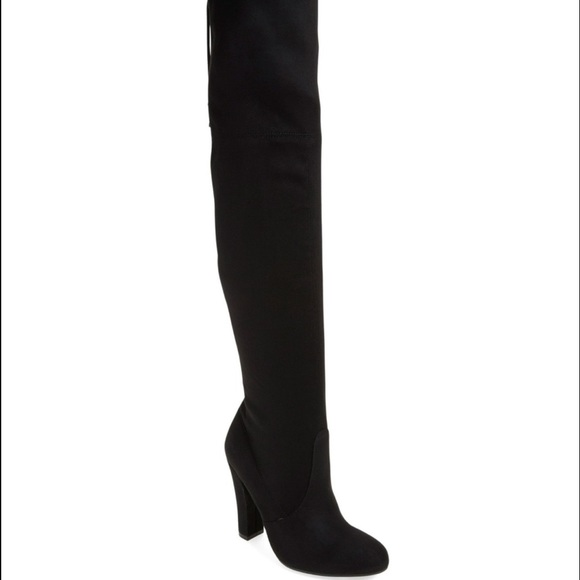 aa252e89916 Steve Madden Thigh High Over The Knee Black Boots.  M 596f1408291a35b62f019138