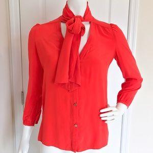 Juicy Couture Orange Bow Tie Top Blouse 2 XS
