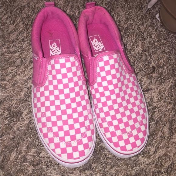 Hot Pinkwhite Checkered Slipon Vans