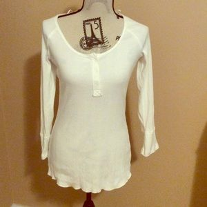 Free People-Jill Henley Soft Ivory Ribbed Top NWOT