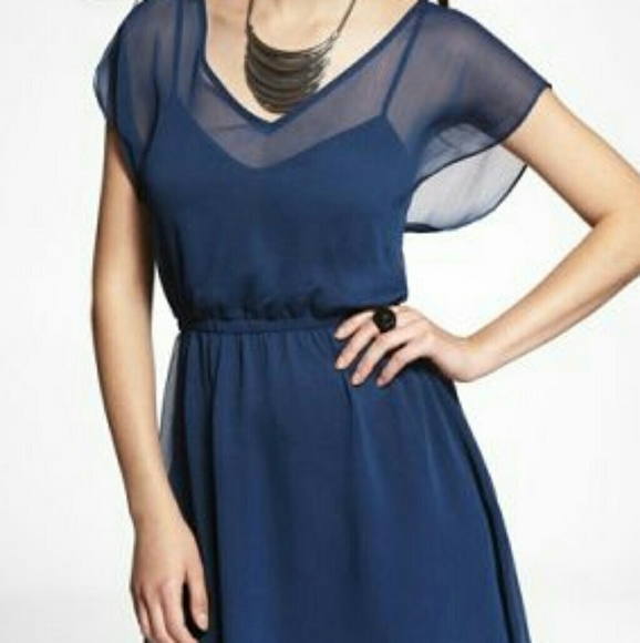 06b368ed9c58 Express Dresses & Skirts - Express Mini Caftan Chiffon Blue Dress