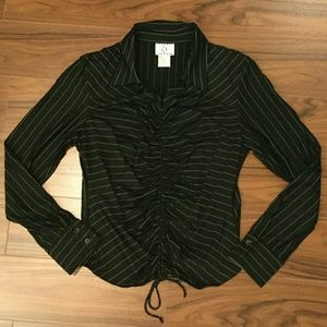 Tops - Pinstriped Top with Ruching