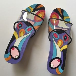 Hand painted clear top Mystique summer clogs 8