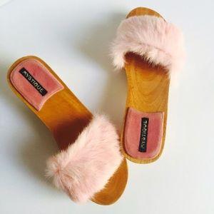 Baby Pink Fur Slide-on Clogs by Mystique 8