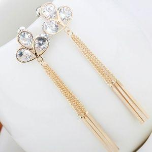 Jewelry - Shamrock Crystal Clover Dangling Earrings