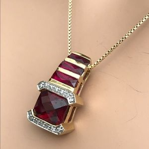 Vintage Jewelry - Red Ruby Cushion Cut Slider Necklace