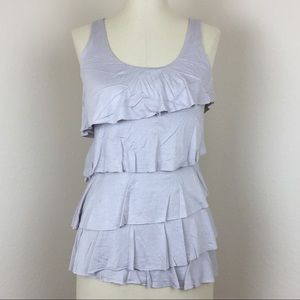 Express tiered ruffle tank in gray shimmery fabric