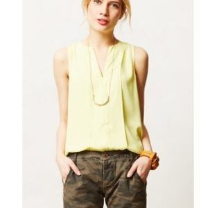 Anthropologie Tops - Maeve Highlighter Yellow Tank with Sheer Shirttail