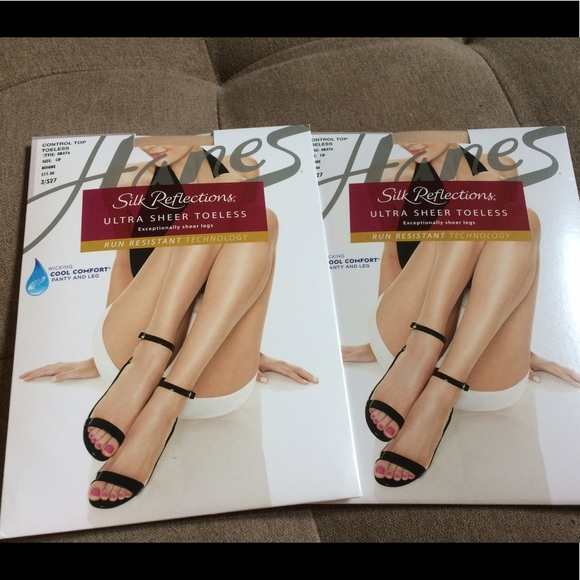 8ebe258666781 Hanes Accessories | Set Of 2 Toeless Sheer Pantyhose Bisque | Poshmark