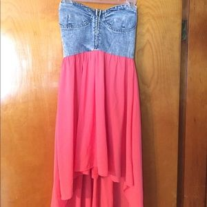 Dresses & Skirts - Jean top dress with high low bottom!