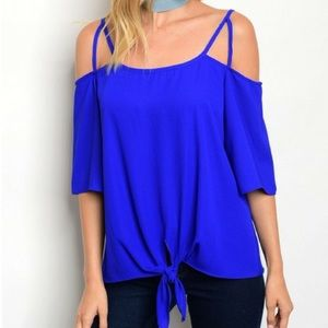 Tops - • off the shoulder ruffle top • royal blue •