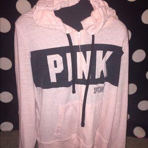 PINK Victoria's Secret Tops - Victoria's Secret pink zip up hoodie peach