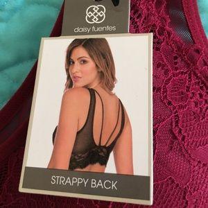 2fd57c35c06bcf Daisy Fuentes Intimates   Sleepwear - NWT Daisy Fuentes wine lace strappy  back bralette