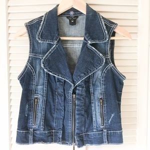 Ariya Jackets & Blazers - Denim Jean Vest with Zip Detail