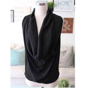 Black Lace Back Cowl Neck Blouse