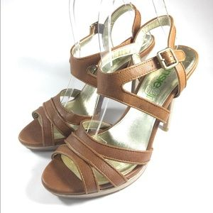 Kenzie Girl Brown Leather Strappy Sandals Size 8