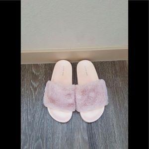 Puma Shoes - New baby pink faux fur slide sandals