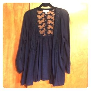 Navy cardigan with lace detail