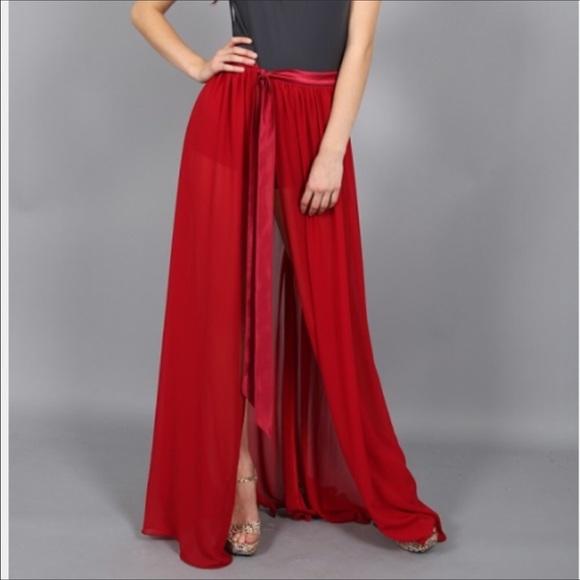 gal ballerina lioness sheer maxi skirt xs nwt
