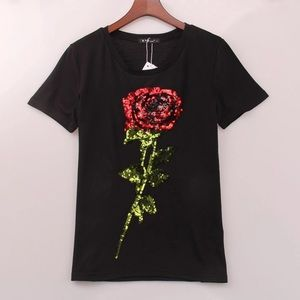 Tops - 🌹🌹🌹 STUNNING SEQUINS ROSE EMBROIDERY GLAM TEE