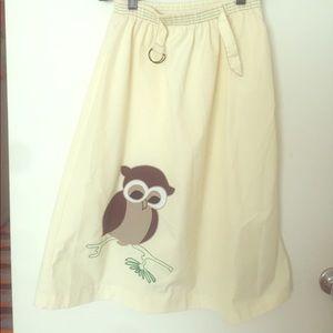 Dresses & Skirts - Lemon Yellow A-Line skirt w/ Owl Appliqué