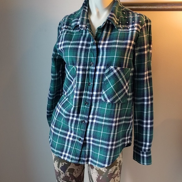 Nollie Tops - Studded Green, Blue, White + Black Flannel Top