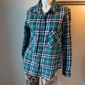 Studded Green Flannel Top