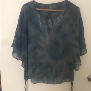 Tops - Tie Dye Flutter sleeve blouse with bead detail