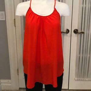 Amour Vert Tops - Orange silk camisole