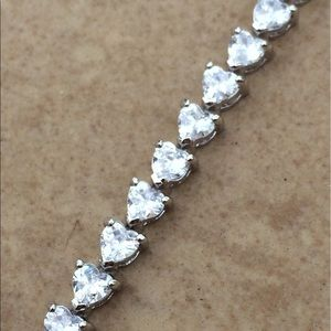 Rhodium Plated Heart Shape CZ Tennis Bracelet