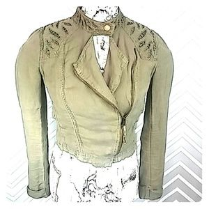Free People Jackets & Blazers - Free People Army Green Cropped Lace Back Jacket
