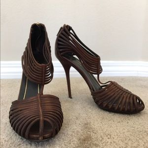 Gucci Shoes - Authentic GUCCI brown leather heels