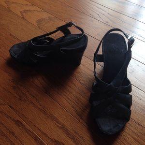 A2 By Aerosoles Shoes - Wedge black sandal EUC still look great