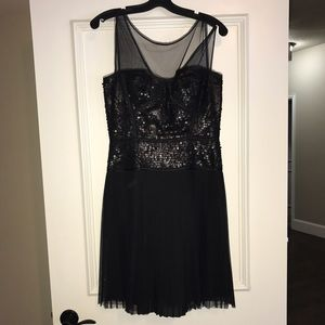 BCBG size 6 black matte sequin dress