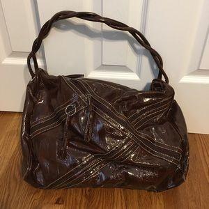 Maroon faux patent leather shoulder bag