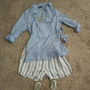 Eloquii Tops - Tie wrap blouse