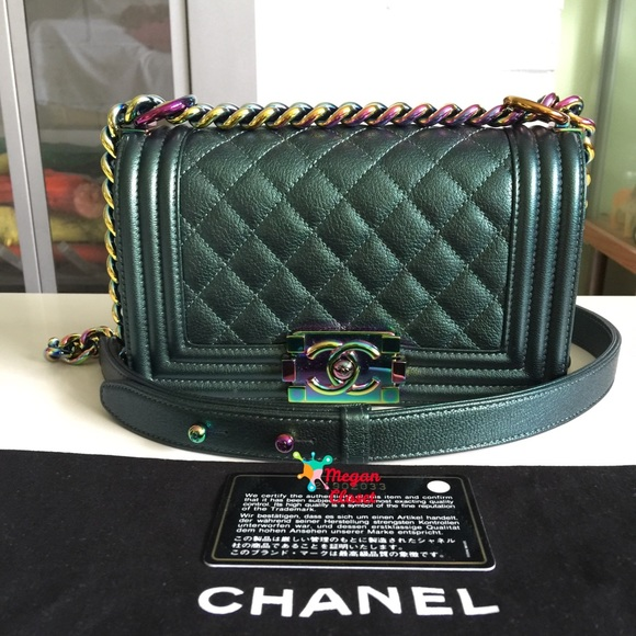 4a5164356f44 CHANEL Bags | Boy Green Iridescent Mermaid Small Bag | Poshmark
