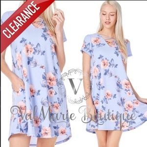 CLEARANCE Baby French Terry Blue Floral Dress