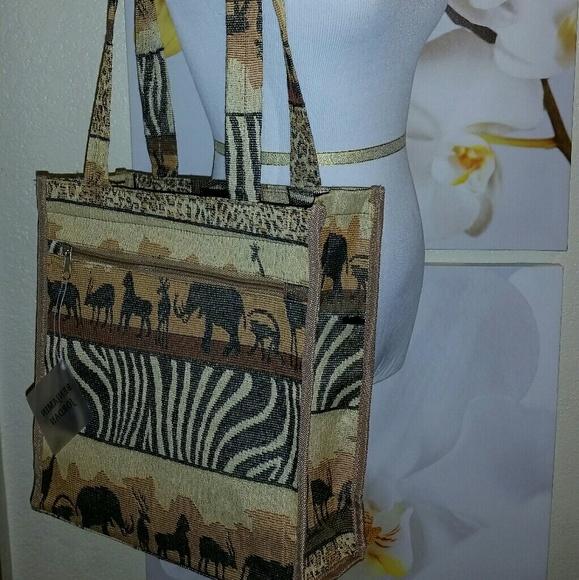 12cc6702d60371 Benjamin jordan Handbags - Safari tapestry animal print tote bag