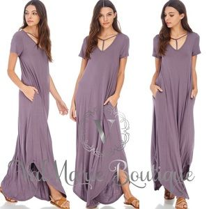Gorgeous T-Strap Neck Maxi Purple Dress