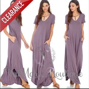 📍CLEARANCE 📍T-Strap Neck Maxi Purple Dress
