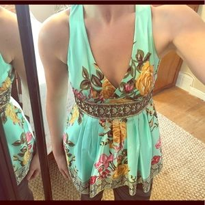 Tops - Mint floral silky beaded too