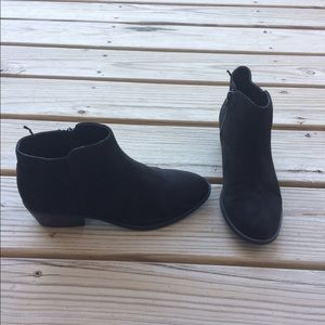 Faux suede black zip booties, low heel. 8