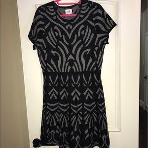 ECI size Large Black and Gray Sweater Dress