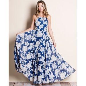 Floral Print Navy Dress