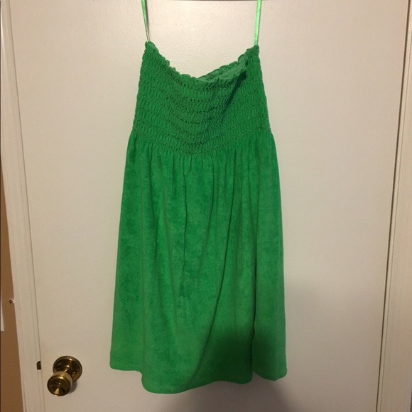 410dfb5b45 Strapless Terry Cloth Green Beach Cover Up. M_5917583998182938940147fc