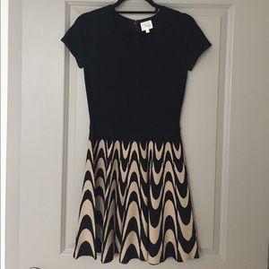 Parker Dresses & Skirts - Parker Stretch Fit & Flare Black & Beige Dress