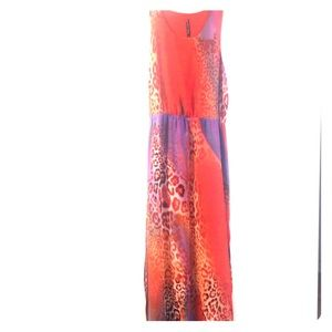NWT designer maxi orange leopard print dress