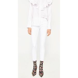Zara Denim - {Zara} White Midrise Ripped Cropped Jeans